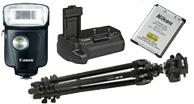 camera flash, tripods, monopods, memory cards, camera bags