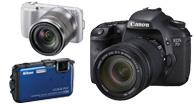 Digital SLR, Digital Point & Shoot cameras, Mirrorless Cameras, Film Cameras