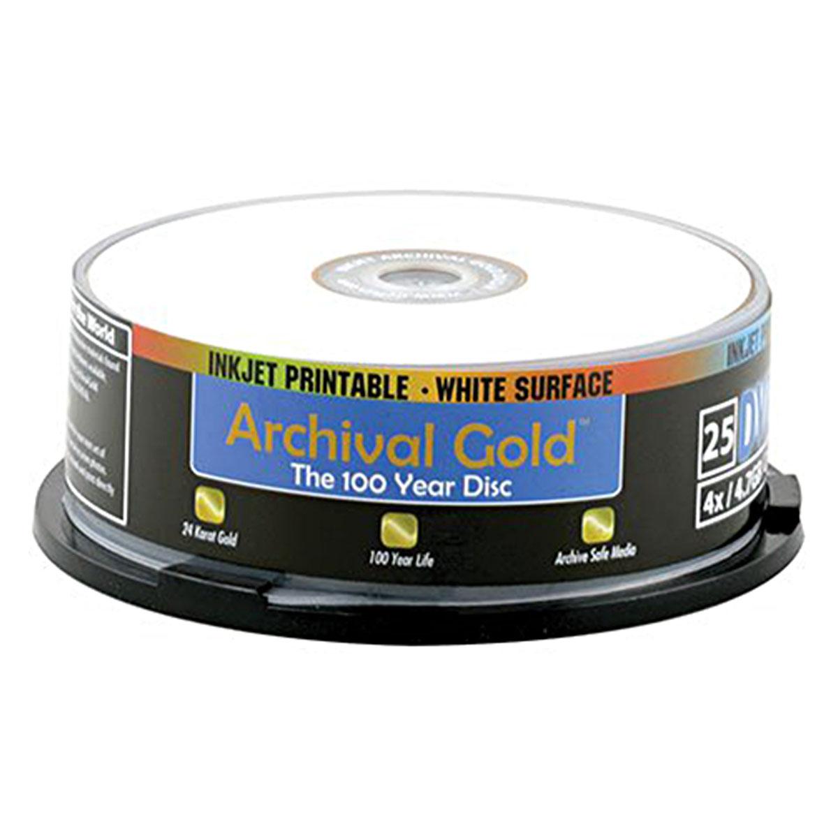 Archival Gold Inkjet DVD-R 25-Pack Spindle