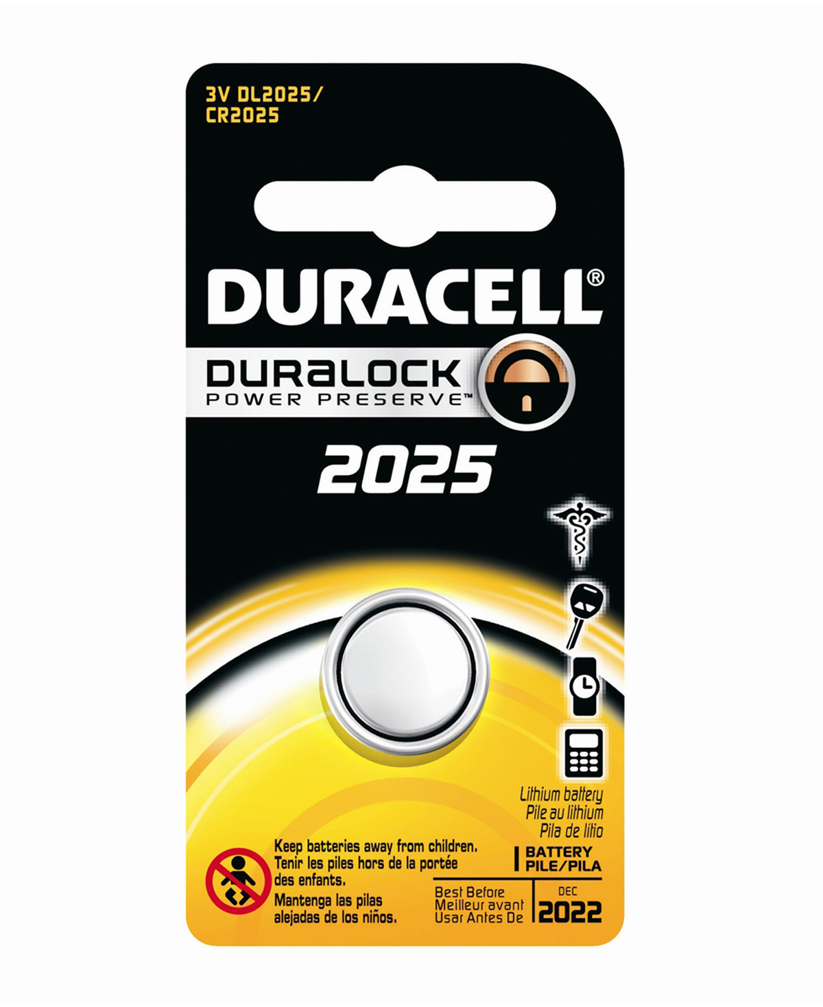 Image of Duracell DL2025BPK Lithium General Purpose 3V Battery