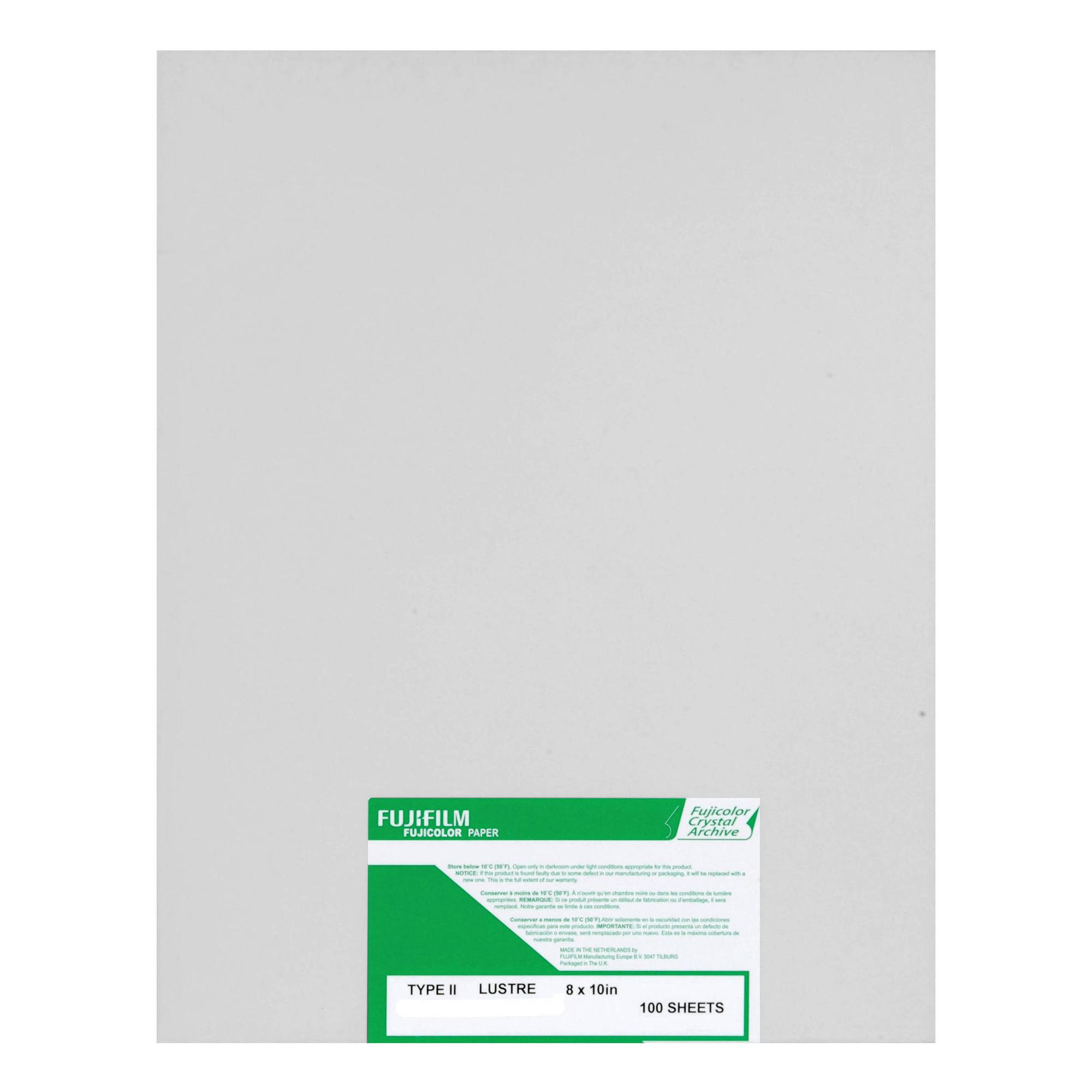 8 x 10, Lustre, 100 Sheets Fujifilm/Fujicolor Crystal Archive Type II Paper