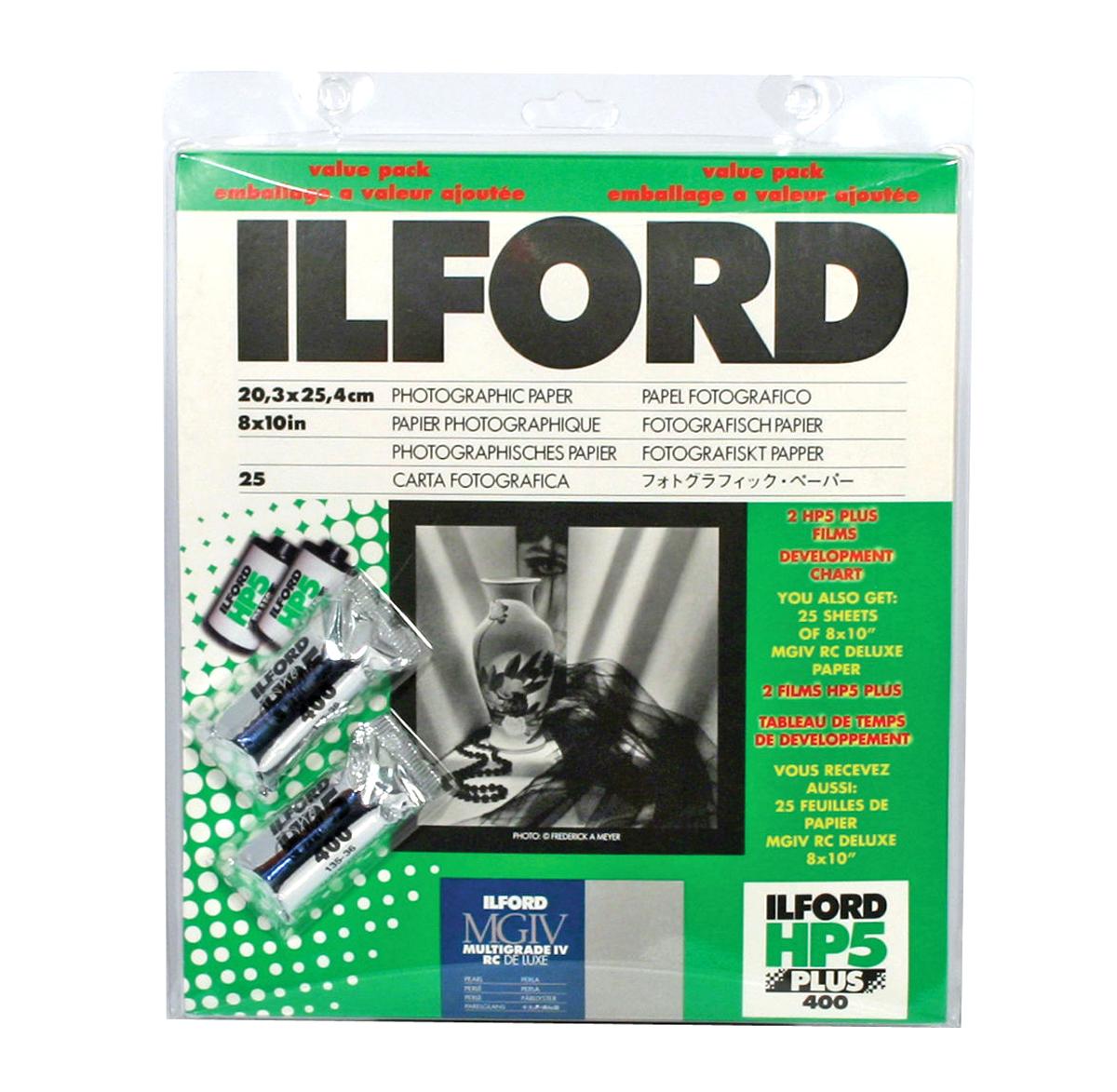 8 x 10in Multigrade IV B&W RC Pearl Paper (25 Sheets) w/2 Rolls of Film