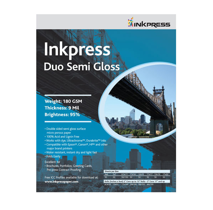 Duo Semi Gloss (2-Sided, 180gsm) 11x14in. - 50 Sheets