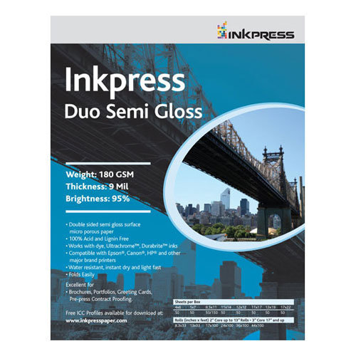 Duo Semi Gloss (2-Sided, 180gsm) - 8.5x11 - 50 Sheets