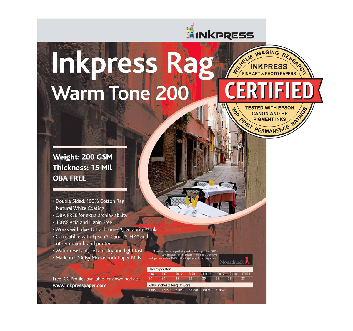 Picture Rag Warm Tone Paper 200 gsm 4 x 6in. - 50 Sheets