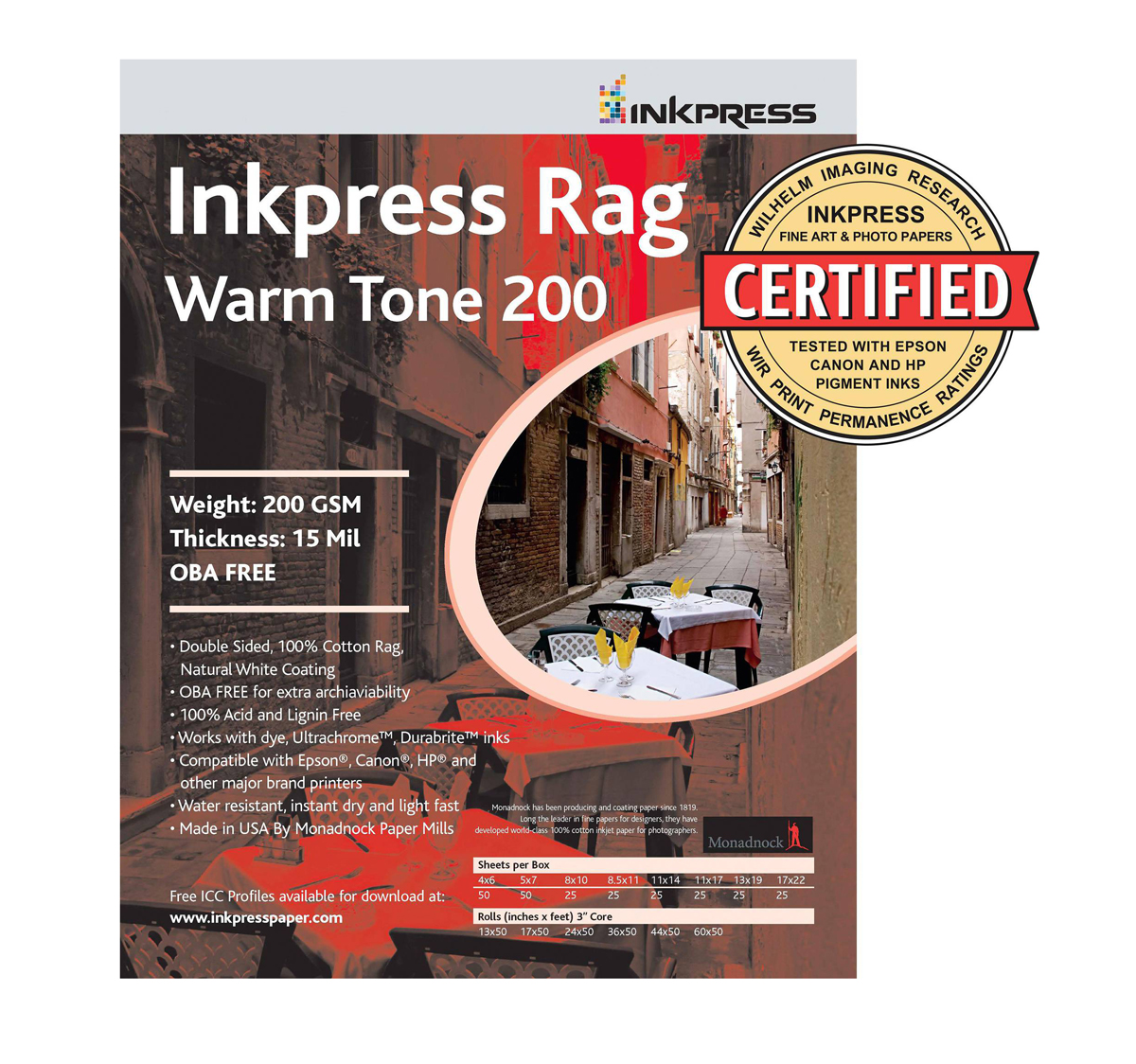 Picture Rag Warm Tone Paper 200 gsm 8.5 x 11in. - 25 Sheets