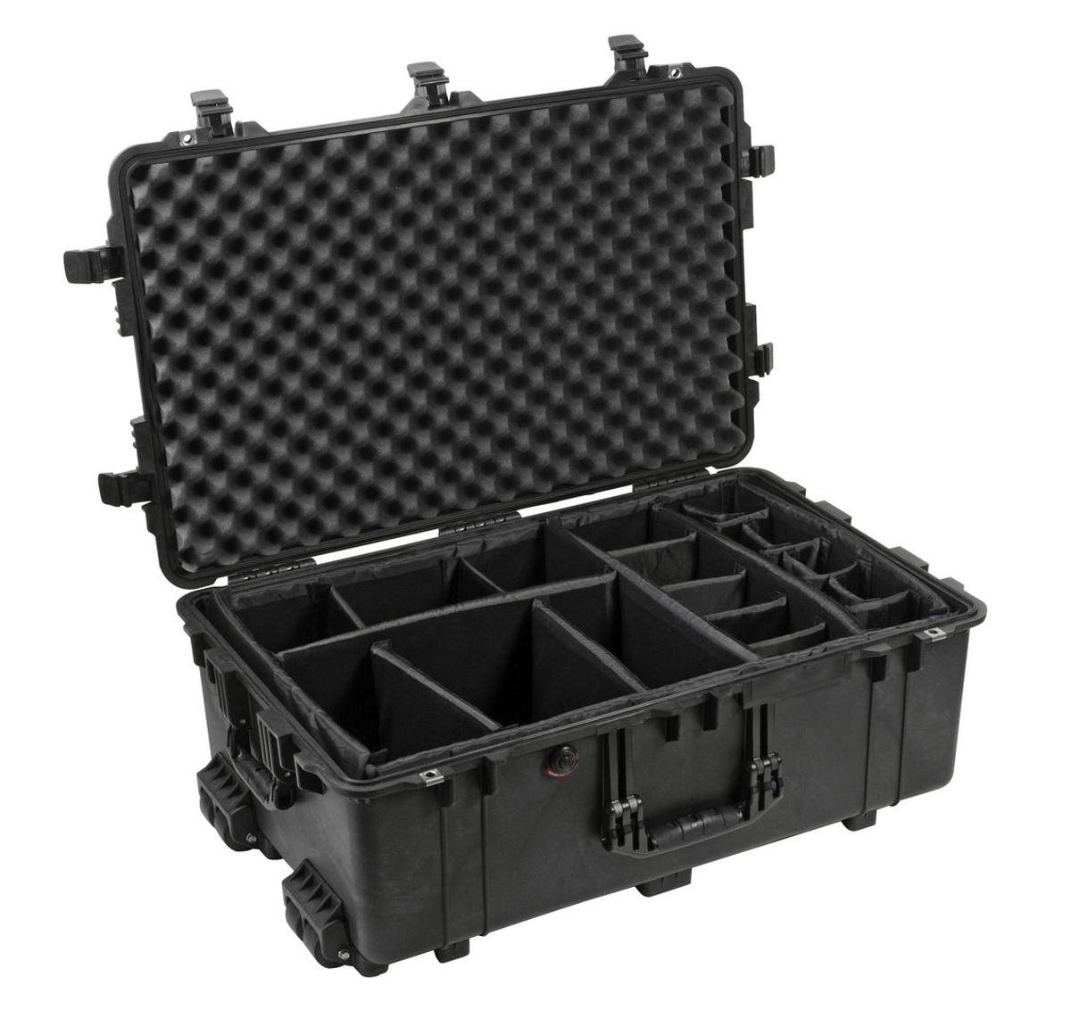 pelican 1650b watertight hard case w padded dividers wheels black ebay. Black Bedroom Furniture Sets. Home Design Ideas
