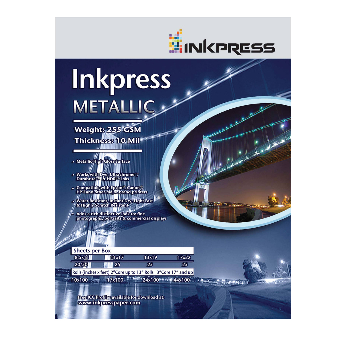 Image of Inkpress 8.5 x 11in Metallic Photo Paper (50 Sheets)