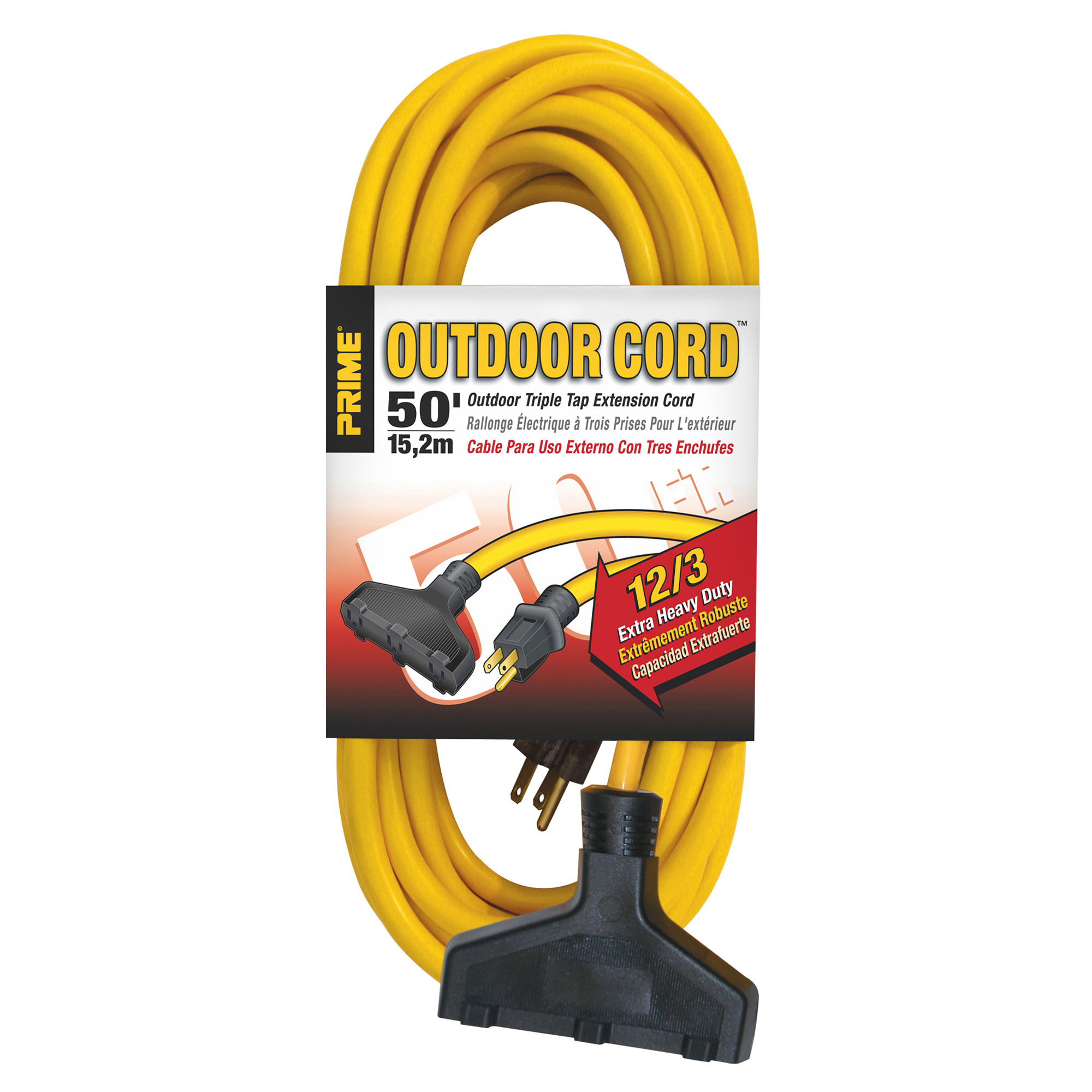Triple Tap Extension Cord 12/3 Yellow  50ft.