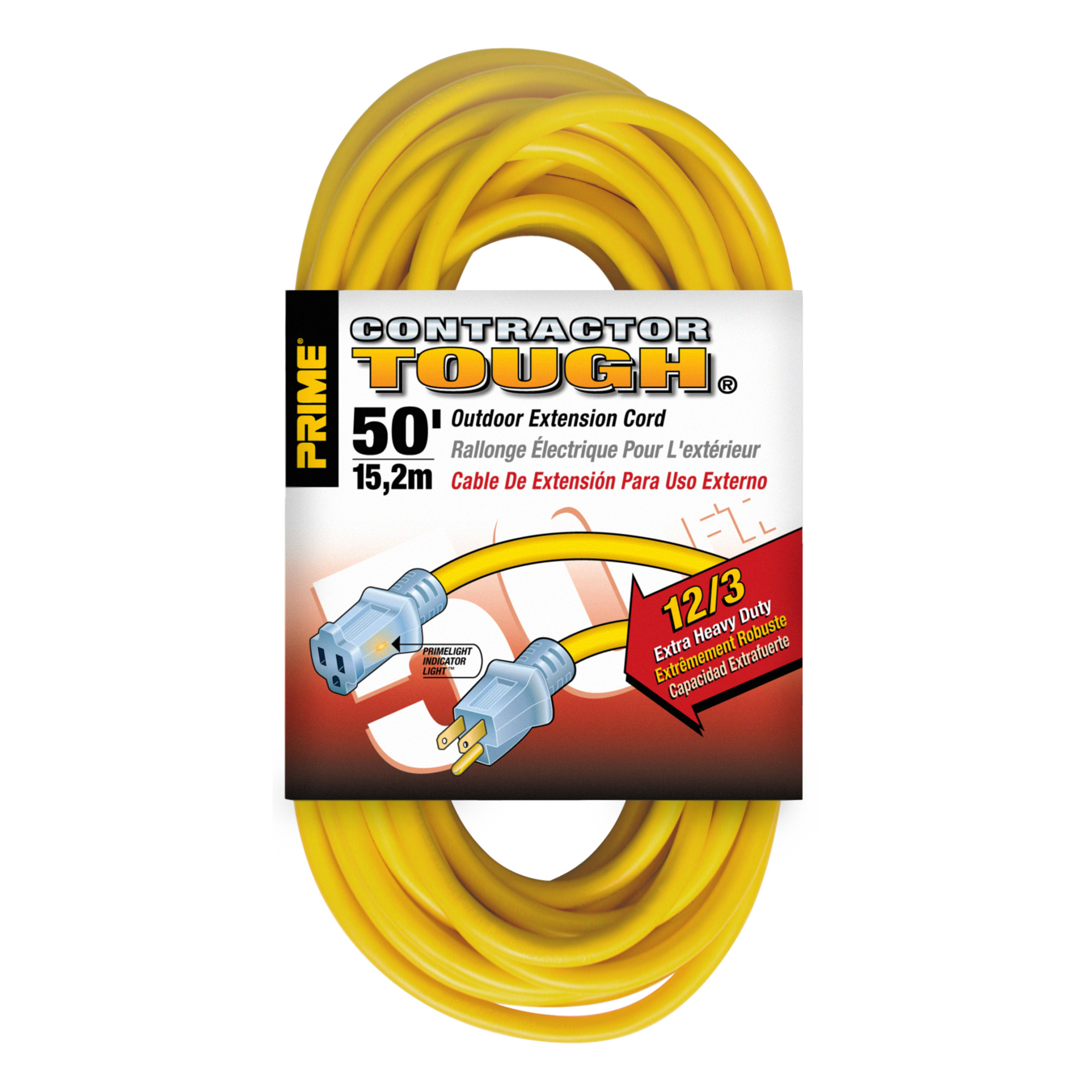 Outdoor Extension Cords 50ft 12/3 with Primelight Indicator Yellow