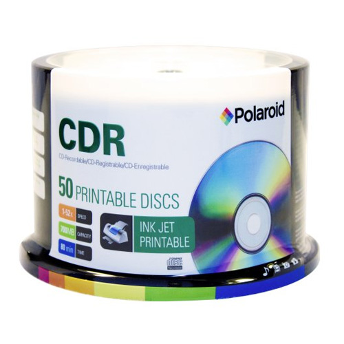 CD-R 700MB/80-Minute 52x White Inkjet Hub Printable Recordable Media Disc 50-Pack Spindle