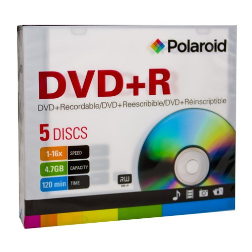 DVD+R 4.7GB/120-Minute 16x Recordable DVD Disc 5-Pack Slim Case