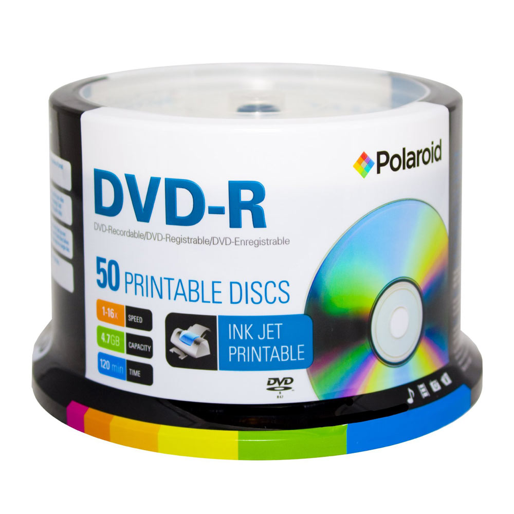 DVD-R 4.7GB/120-Minute 16x White Inkjet Hub Printable Recordable DVD Disc 50-Pack Spindle