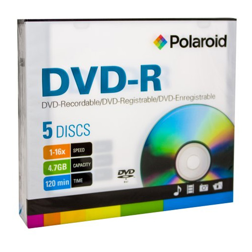 DVD-R 4.7GB/120-Minute 16x Recordable DVD Disc 5-Pack Slim Case