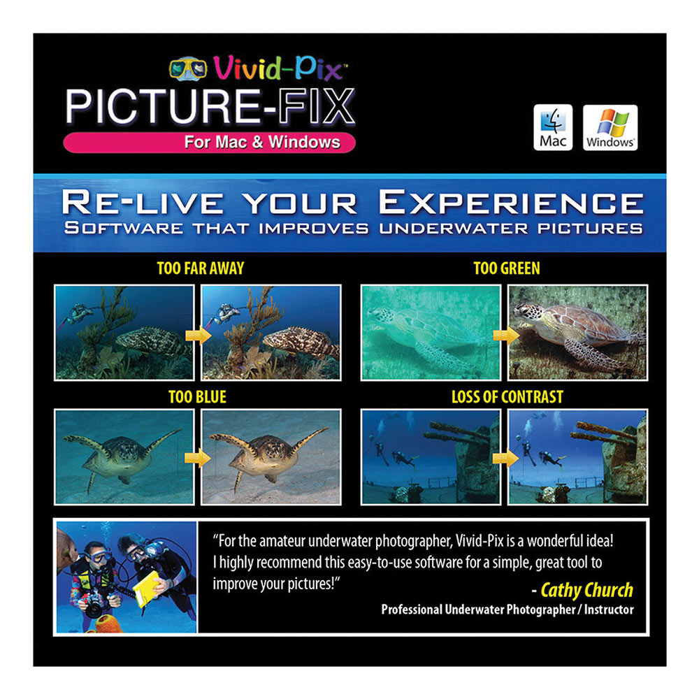 Picture-Fix Underwater Software Mac and Windows