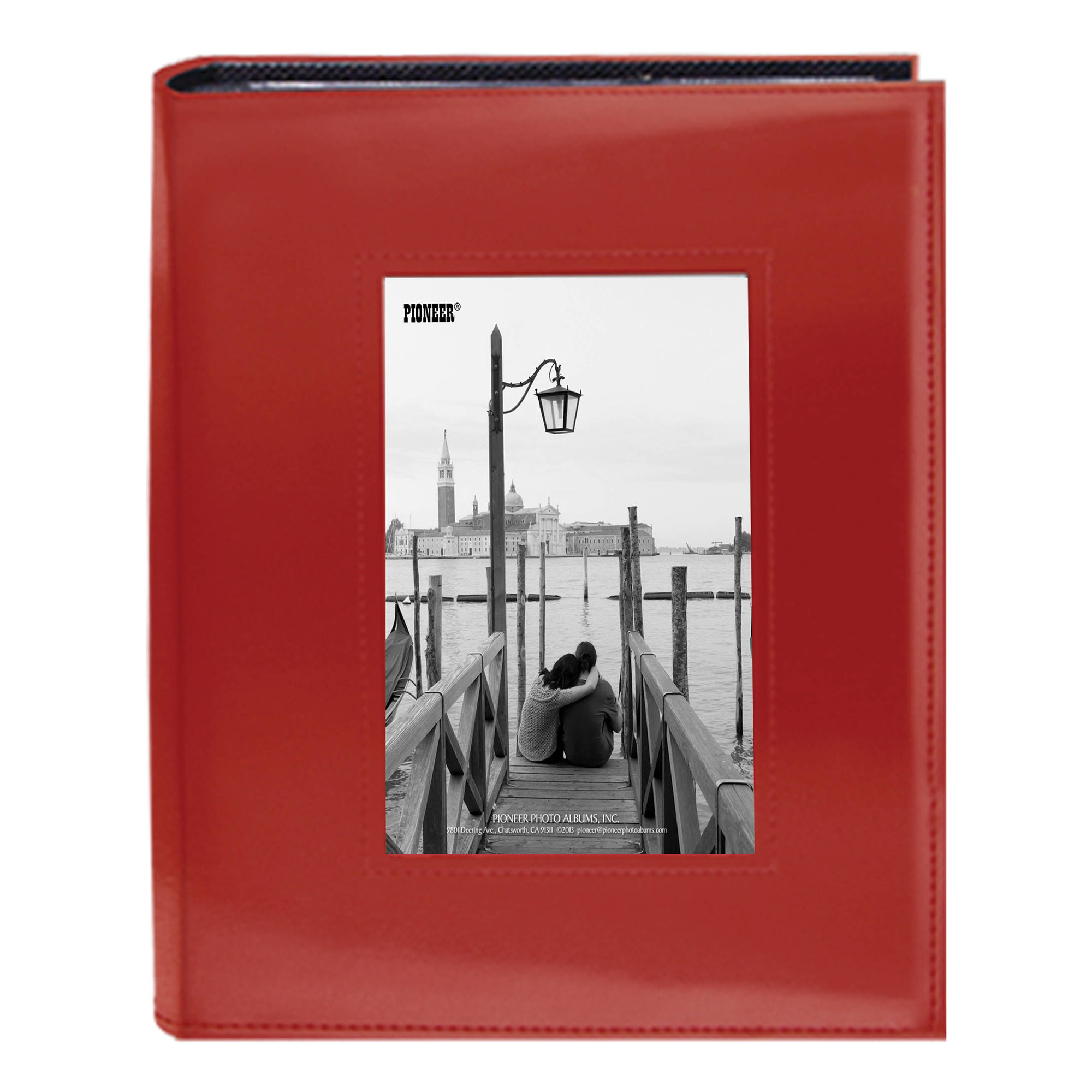 Image of Pioneer 4X6-200 Sewn Frame Photo Album Cutout (Red)