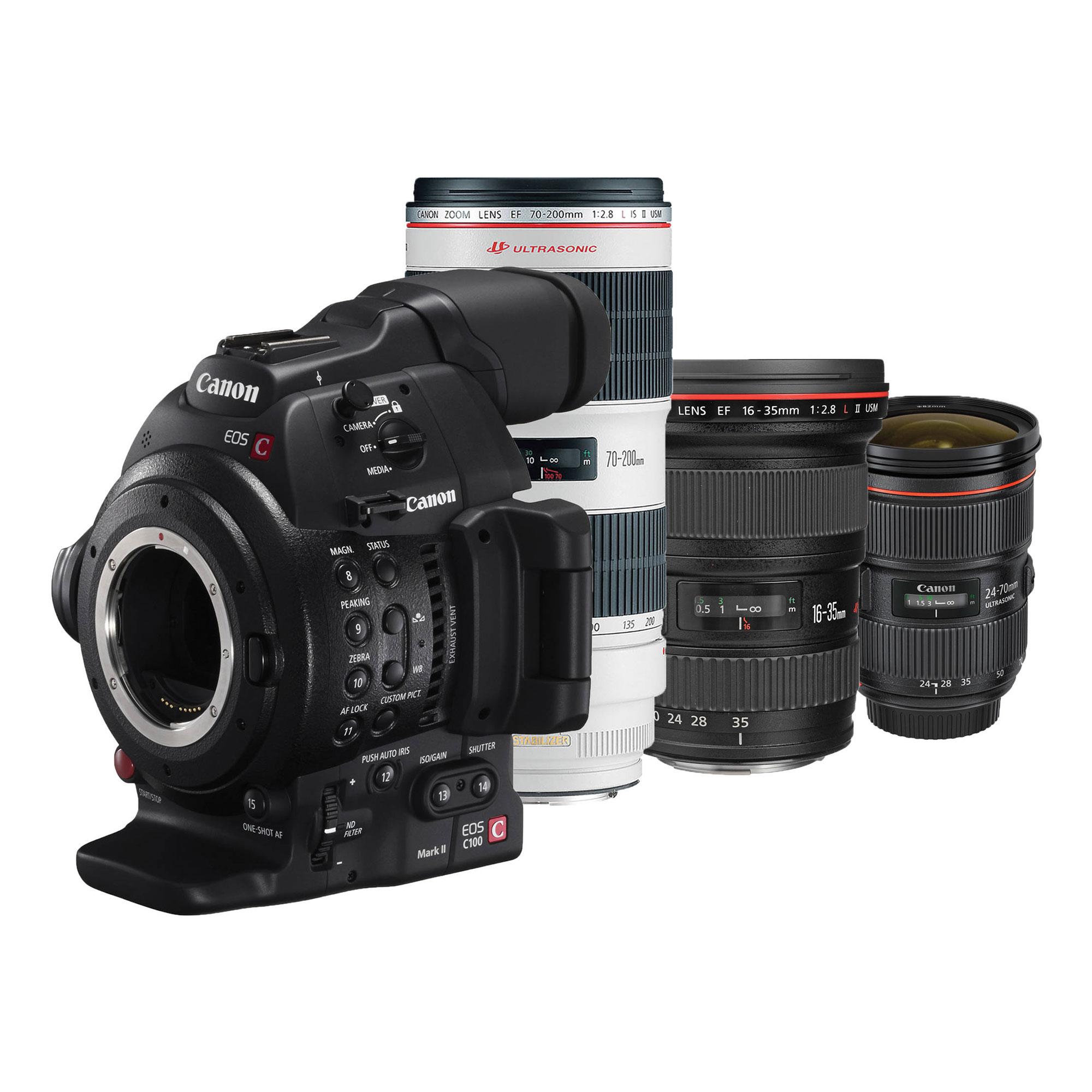 Canon | EOS C100 Mark II Cinema EOS Camera with Triple Lens Kit