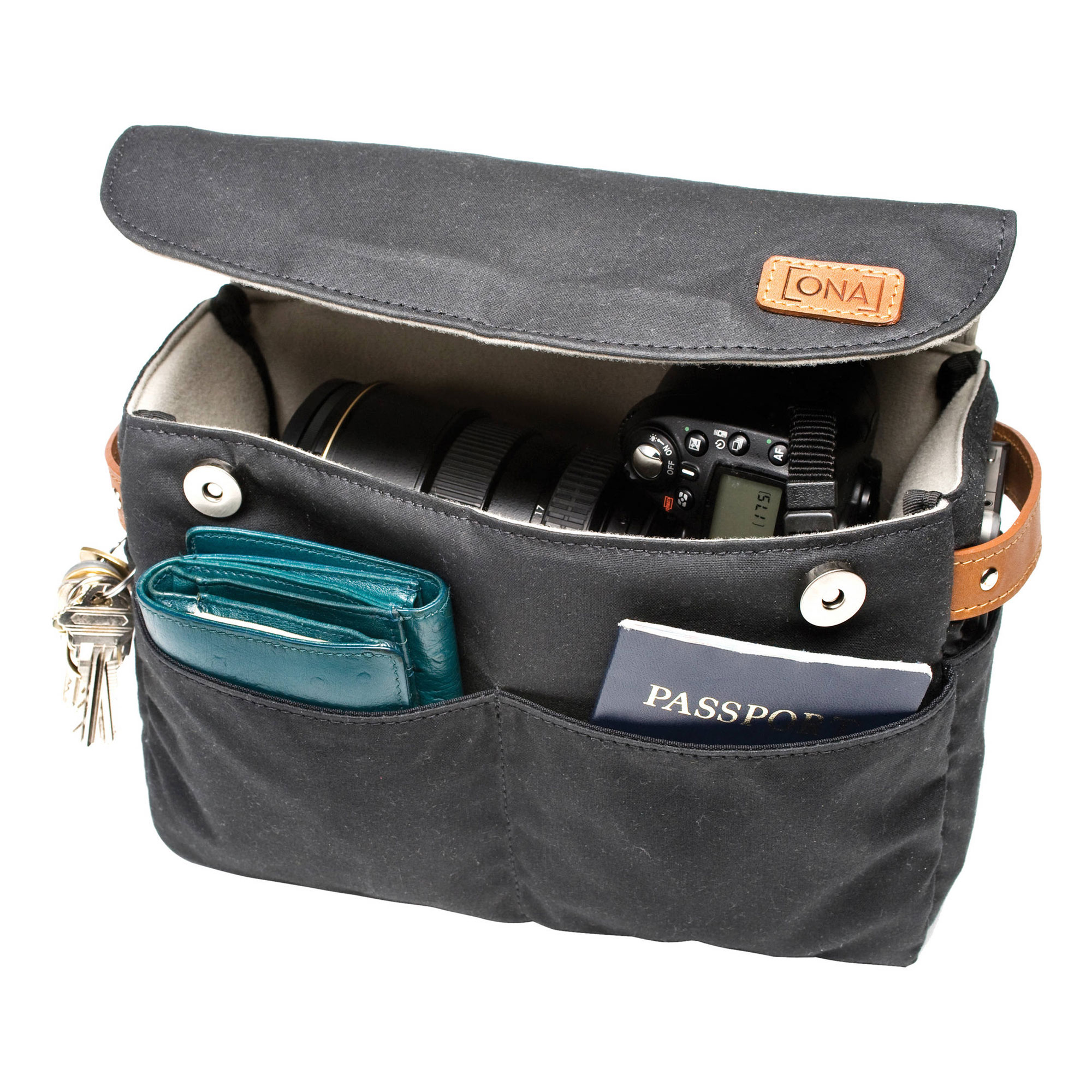 The Roma Camera Insert and Bag Organizer Black