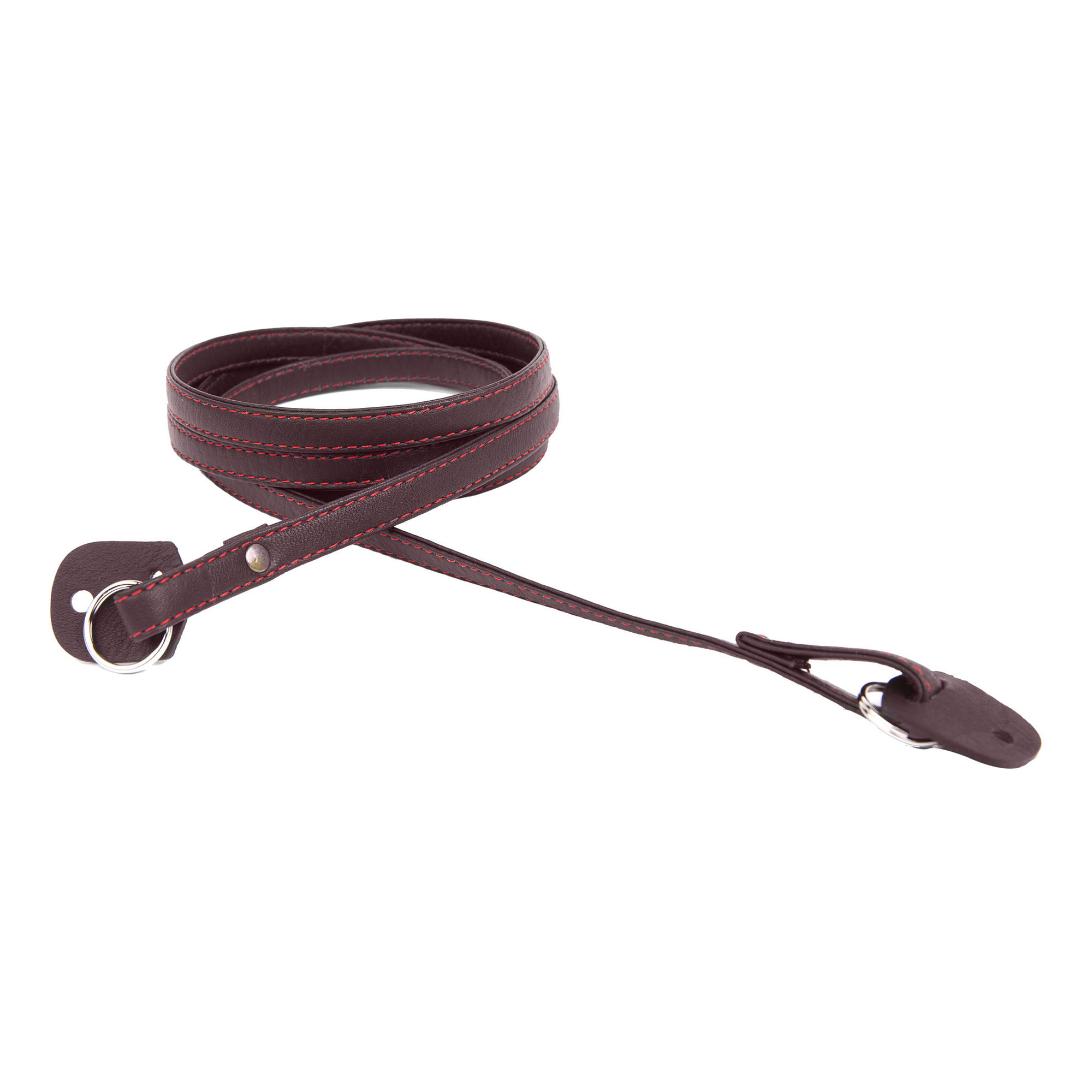 """Image of Cecilia Gallery 52"""" Narrow Leather Camera Strap (Brown/Red Stitching)"""