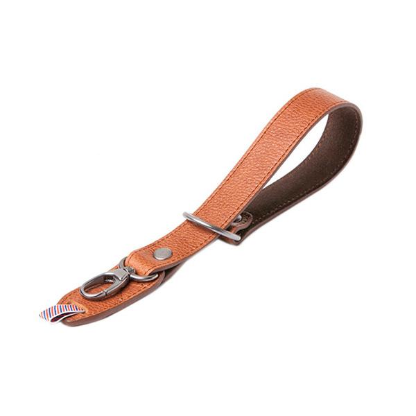 Razor Cut Camera Wrist Strap Grained Brown Leather