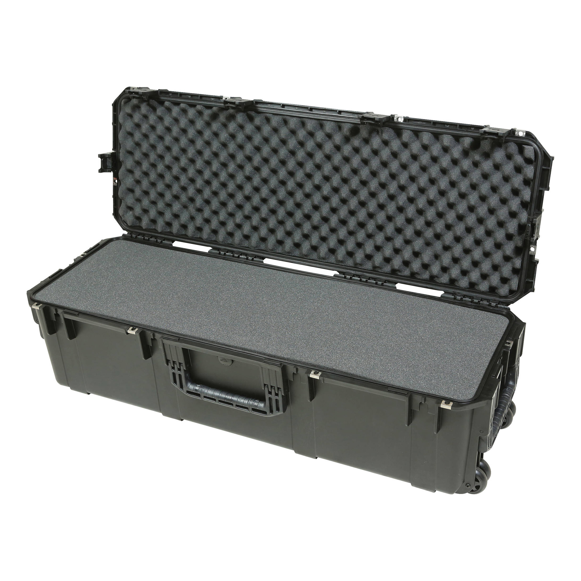 Injection Molded Waterproof Case with Wheels and Layered Foam