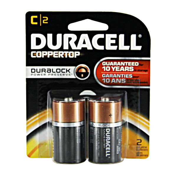 Image of Duracell C Cell Coppertop Alkaline Batteries (2 Pack)