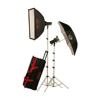 AKC640RK 645W/s Mobile Studio 2 Light Soft Box Kit with Radio