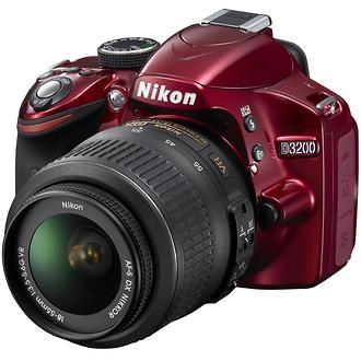 Nikon D3200 Digital SLR Camera with 18-55mm VR Lens (Red)