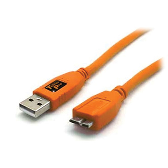 Tether Tools | 15 Ft TetherPro USB 3.0 Male A to Micro-B Cable (Hi-Visibility Orange) | CU5454