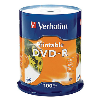 Verbatim | DVD-R 4.76GB 16x White Inkjet Printable (100 Pack) | 95153