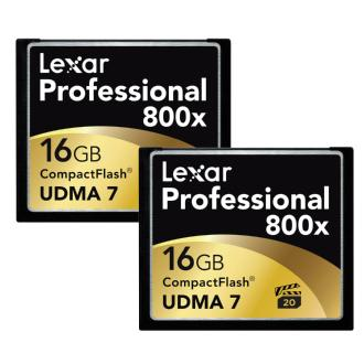 Lexar | 16GB CompactFlash Memory Card Professional 800x (2-Pack) | LCF16GCTBNA8002