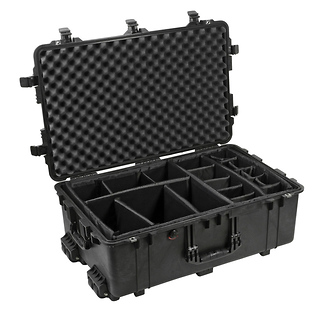 Pelican | 1650B Watertight Hard Case with Padded Dividers and Wheels - Black | PC1654B