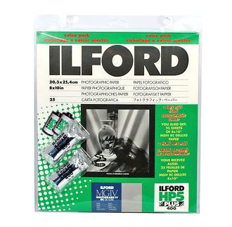 Ilford | 8 x 10in Multigrade IV B&W RC Pearl Paper (25 Sheets) w/2 Rolls of Film | 1858477