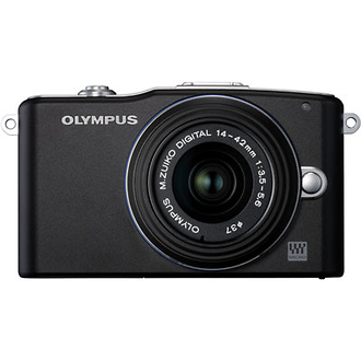 Olympus | E-PM1 Mini Pen Digital Camera (Black) with 14-42mm Lens | V206011BU000
