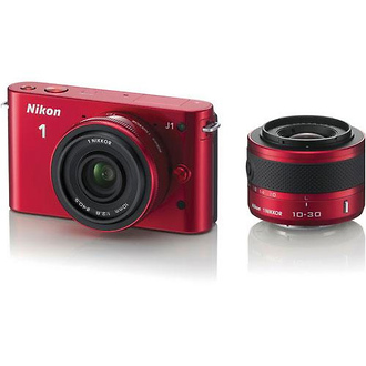 Nikon | 1 J1 Mirrorless Digital Camera with 10mm Lens & 10-30mm VR Lens (Red) | 27567