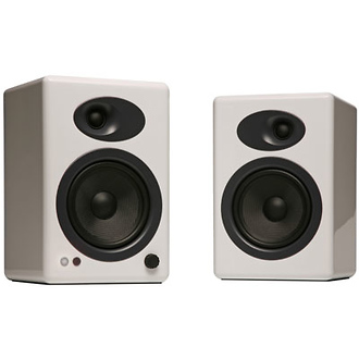 A5+ Premium Powered Bookshelf Speakers (White)