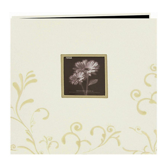 Embroidered Scroll Frame Fabric Photo Album, Ivory