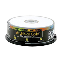 Delkin Devices Inkjet Archival Gold CD-R 25 Pack Spindle
