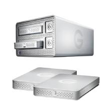 G-Technology 2TB G-DOCK ev Dual Bay Storage System with Thunderbolt and Two 1TB G-DRIVE ev Portable Hard Drive Bundle
