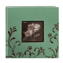 Pioneer Embroidered Scroll Frame Fabric Photo Album, Aqua-Brown