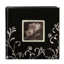 Pioneer Embroidered Scroll Frame Fabric Photo Album, Black-White