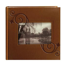 Embossed Leatherette Frame Photo Album, Brown Leatherette Image 0