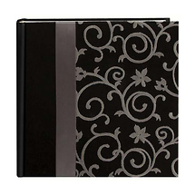 Pioneer Embroidered Scroll Fabric Ribbon Photo Album, Black.