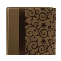 Pioneer Embroidered Scroll Fabric Ribbon 4x6 Photo Album, Brown