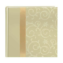 Pioneer Embroidered Scroll Fabric Ribbon Photo Album, Ivory