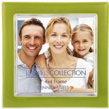 Dennis Daniels Silver Plate Enamel 4x4 Green Tea Frame