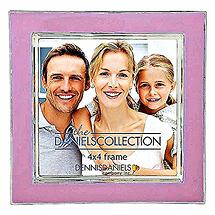 Dennis Daniels Silver Plate Enamel 4x4 in. Rosy Pink Photo Frame