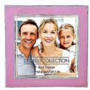 Silver Plate Enamel 4x4 in. Rosy Pink Photo Frame