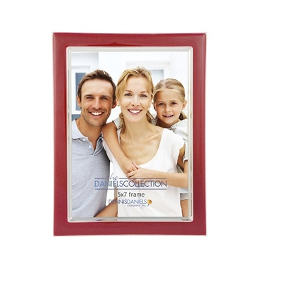 Silver Plate Enamel 5x7 Red Photo Frame Image 0