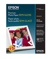 Epson Premium Photo Paper Semigloss, 8.5 x 11in. - 20 sheets